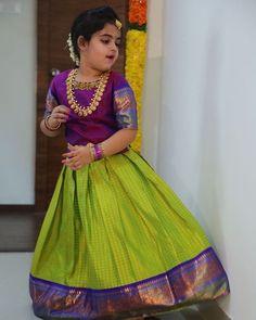 Best 12 Client diaries 😍 beautiful graceful Ridhima in a pattu pawda Kids Dress Wear, Dresses Kids Girl, Kids Outfits, Kids Wear, Baby Dresses, Baby Lehenga, Kids Lehenga, Kids Saree, Kids Indian Wear