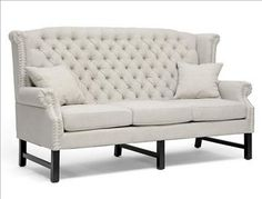 Baxton Studio Sussex Beige Linen Sofa with Button Tufting and Birch Wood Legs. $1049