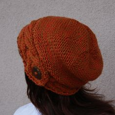 Hand Knit Hat Womens Hat  The Slouch Hat in Wheat  by WoolyThinker, $38.00