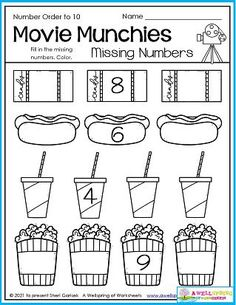 What do you do on a really hot summer afternoon? I say let's get out of this heat and go se a movie! In this worksheet kids fill in the missing numbers so each sequence is in number order as far as up to 10. You don't need to buy all this stuff at the movies. Bring your own, it's much cheaper. :) Please see my August Counting Worksheets set. It has 30 pages of great counting fun! Counting Worksheets For Kindergarten, Graphing Worksheets, Kindergarten Math, Writing Lines, Ordering Numbers, Learn To Count, My Teacher, Fill, Hot