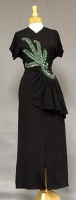 Black Crepe 1940's Evening Gown w/ Green Sequins