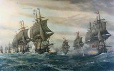 """Bataille de Chesapeake, le 5 septembre 1781. Le """"Ville de Paris"""" et """"l'Auguste"""". Peinture du XXe siècle  du Hampton Roads Naval Museum de Norfolk."""