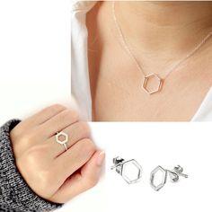 925 Sterling Silver Hexagon Shape Pendant Earrings & Ring Jewelry Set #eightyjewels