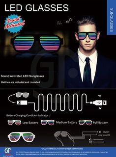 2016 Good Quality Voice Controlled Logo Customized FlashingSound Activated Funny Novelty Sunglasses tina@chinaszshh.com