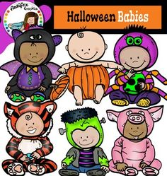 Halloween Babies clip art set contains 12 image files, which includes 6 color images and 6 black & white images in png.This clipart license allows for personal, educational, and commercial small business use. If using commercially, or in a freebie, a link to my store is required.