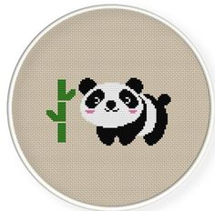 Buy 4 get 1 free ,Buy 6 get 2 free,Cross stitch pattern, PDF,panda and his bamboo ,ZXXC0198. $4.00, via Etsy.
