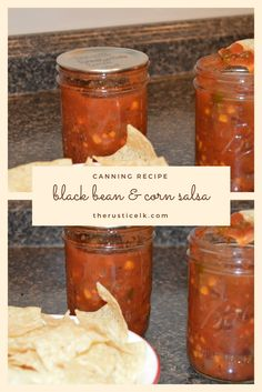 We love salsa in our house. Black bean and corn salsa is our absolute favorite. Not too spicy, not bland, and absolutely delicious with some homemade tortilla chips. This is an amazing recipe and completely safe for canning. Salsa Canning Recipes, Canning Corn, Canning Salsa, Canning 101, Canning Tomatoes, Homemade Tortilla Chips, Homemade Tortillas, Homemade Corn Salsa Recipe, Canning Homemade Salsa