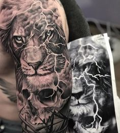 60 epic tattoos that all men want to copy - Straight Blasted - Tiger . - 60 epic tattoos that all men want to copy – Straight Blasted – Tiger and Skull by Kir – - Tiger Tattoo Sleeve, Lion Tattoo Sleeves, Skull Sleeve, Best Sleeve Tattoos, Tattoo Sleeve Designs, Tattoo Designs Men, Portrait Tattoo Sleeve, Quarter Sleeve Tattoos, Lion Head Tattoos