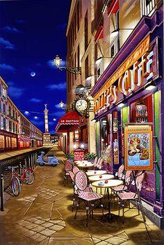 """""""Folie's Cafe"""" Paris by Liudmila Kondakova City Landscape, Winter Landscape, Landscape Paintings, Casa Anime, Paris Painting, Image Nature, Cafe Art, Paris Art, Country Art"""
