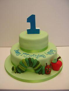 Eric Carle's Very Hungry Caterpillar 1st Birthday Cake #cakedesign #cakedecoration
