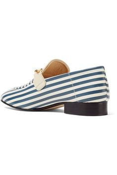 Joseph - Embellished Striped Leather Loafers - Blue - IT38.5