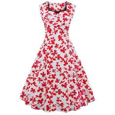 Vintage Printed Sleeveless Sweetheart Neck Women's Dress