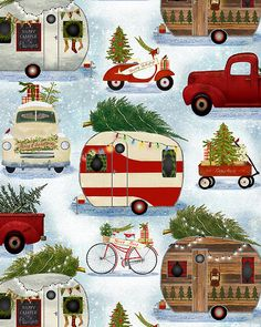 pick ups trucks Vintage Christmas Cards, Retro Christmas, Christmas Art, Christmas Decorations, Christmas Ornaments, Xmas, Christmas Truck, Christmas Scenes, Christmas Pictures