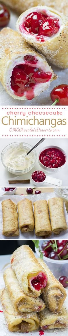 Cherry Cheesecake Chimichangas are irresistibly scrumptious, crispy, deep fried burritos filled with sweet, cherry cheesecake and rolled into cinnamon sugar.
