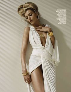 gold arm cuff- Anja Rubik by Solve Sundsbo for Vogue Russia in Donna Karan