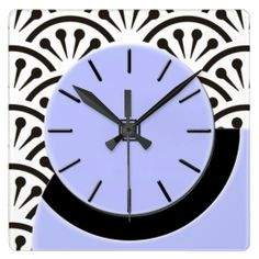 Art Deco Cut-A-Way (Lilac Black) - Concept of Cut-A-Way Wall Clock was based on a small vintage table clock found at a flea market. The original digital painting for this clock captures the look of the vintage plastic with the suggestion of depth. Behind clock is a black and white Japanese wall paper design from same era. See coordinating products & color options @ www.zazzle.com/icondoit+adj+gifts?rf=238155573613991097&tc=pnt #artdecoclocks #artdecohomedecorating #artdecodecor