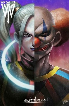 The God of Destruction and Angel of Universe 11.   For some reason The Joker and Harley are there.