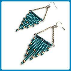 Turquoise and Gold Seed Bead Chandelier Diamond Shaped Chevron Beaded Earrings - Wedding earings (*Amazon Partner-Link)
