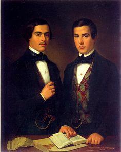 1847 - 'Portraits of the brother architects Juan and Ramón Agea', oil on canvas, by Juan Cordero,   (Mexico, 1822-1844), collection: Banco Nacional de México