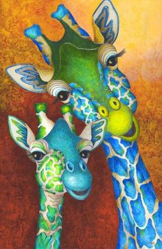 New place to see animals in pajamas, either in the gallery in Neuilly sur Seine, or on the Starter gallery website. Giraffe Painting, Giraffe Art, Cute Giraffe, Giraffe Pictures, Animal Pictures, Baby Animals, Cute Animals, Wal Art, Colorful Animals