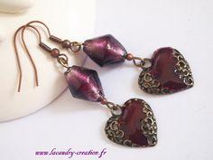 Boucles d'oreilles percées femme Coeur grenat et bronze style baroque : Boucles d'oreille par lacaudry-creation