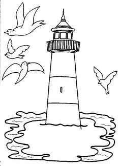 coloring gulls fly around the lighthouse picture print this drawing for your kids