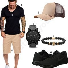 Schwarz-Beiges Outfit mit cooler Cargo-Shorts (m0412) #outfit #style #fashion #menswear #mensfashion #inspiration #shirt #cloth #clothing #männermode #herrenmode #shirt #mode #styling #sneaker #menstyle
