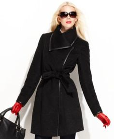 Vince Camuto Coat, Asymmetrical-Collar Belted Trench Coat