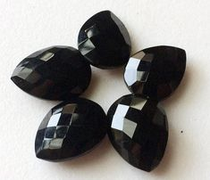 5 Pcs Black Onyx Faceted Pear Gemstones Double by gemsforjewels