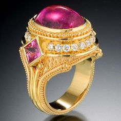 Rubellite Ring  18K gold with rubellite tourmaline cabochon, pink sapphires and diamonds. 2008