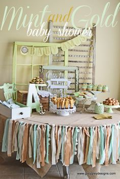 58 Ideas Shabby Chic Baby Shower Brunch Party Ideas For 2019 Mint Baby Shower, Unisex Baby Shower, Baby Shower Vintage, Baby Shower Brunch, Shabby Chic Baby Shower, Gold Baby Showers, Gender Neutral Baby Shower, Baby Shower Parties, Shower Party