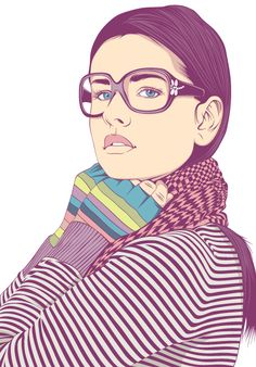Vector illustrations  by Alejandro Garcia  Appreciate the various lines in the figure's clothing.  Like the brighter colors closer to the face.