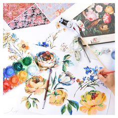 Painting these romantic old world blooms helps to achieve a classic look for our new textile designs.