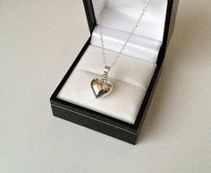Sterling Silver Puffed Heart Pendant Necklace the puffed heart pendant measures across (diameter) the chain is long material: genuine 925 sterling silver. Kids Jewelry, Cute Jewelry, Women Jewelry, Jewelry Gifts, Vintage Jewelry, Silver Locket Necklace, Silver Lockets, Heart Pendant Necklace, Indian Jewelry Earrings