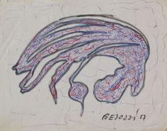 E. Besozzi pitt. 1957 Forme pennarello e biro su carta cm. 11x14 arc. 607