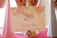 "Popcorn Bar at a ""Ready to Pop""-themed baby shower - adorable!"