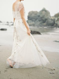 Coastal California Elopement in a Jenny Packham Gown   Wedding Sparrow   Danford Photography