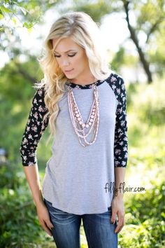 Floral Wishes 3/4 Top in Black - Love this top and it's only $29!