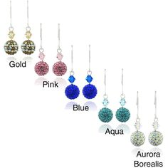 Icz Stonez Sterling Silver Crystal And Fireball Earrings (Aqua), Women's, Blue