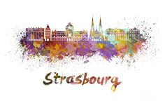 Strasbourg Skyline In Watercolor Painting by Pablo Romero