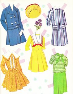 pretty belles paper dolls outfits 1965