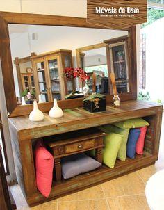 Aparador e moldura de espelho de madeira de demolição - http://moveisdobem.com