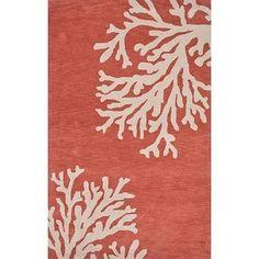 NOVICA Modern Coastal Orange/Ivory Wool Area Rug