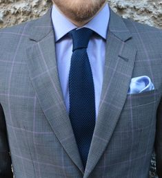 """raatalistudio: """" Close up of our grey check suit combined with knitted tie and silk pocket square. Source http://www.raatalistudio.fi/ """" Simple colors, great combination. Works"""