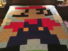 This Super Mario Quilt Was Made by a Super Grandmother - DIY and crafts Granny Square Blanket, Afghan Blanket, Granny Squares, Crochet Mario, Crochet Projects, Sewing Projects, Crochet Ideas, Crochet Patterns, Crochet Gifts