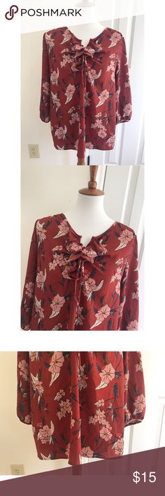 New Directions floral print blouse - Size M - I don't trade or sell outside of posh. - I ship every single day Monday-Saturday. - All items come from a smoke free, pet free home!  - If you have anymore questions just let me know and I would be happy to help.  - Happy poshing everyone! new directions Tops Blouses