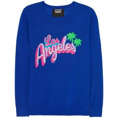 Markus Lupfer - Los Angeles Sequined Merino Wool Sweater featuring polyvore, women's fashion, clothing, tops, sweaters, blue, royal blue, markus lupfer sweater, royal blue sweater, blue sweater, sequin top and merino wool sweater