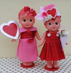 Vintage Celluloid Doll Valentine Heart by MagpieEthel on Etsy