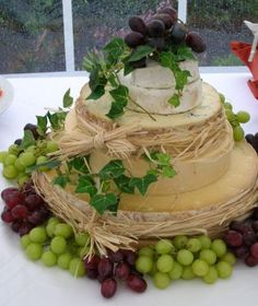 Cheese wedding cake tied raffia