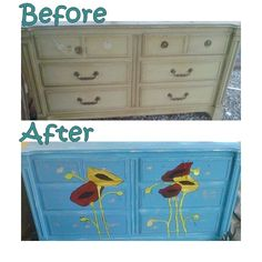 painted dresser poppies